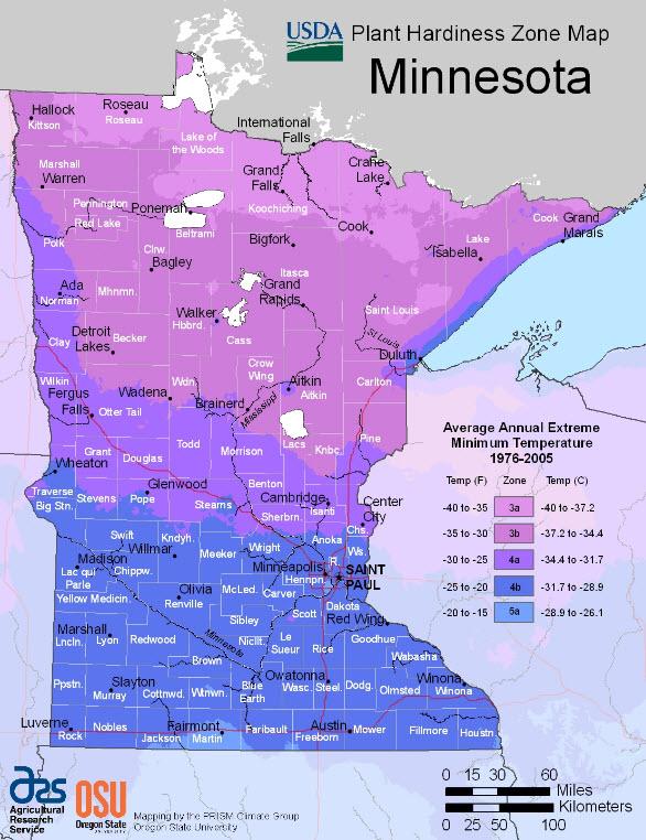 MN Plant Hardiness Zone Map