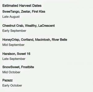MN Estimated Apple Harvest Dates